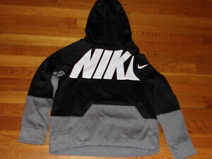 NIKE DRI-FIT LONG SLEEVE BLACK/GRAY HOODIE BOYS LARGE 14-16 EXCELLENT CONDITION