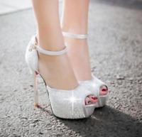 Womens Platform Open Toe High Heels Stiletto Pumps Ankle Strap Sandal Sexy Shoes
