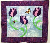 Wall Art Lap Quilt Garden TULIP & LADYBUG Blanket Flower Purple Quilter Estate