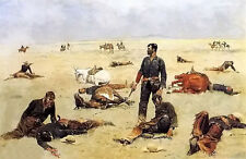 Oil painting Frederic Remington - the trooper what an unbranded cow has cost 36'