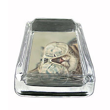 """Funny Cat Glass Ashtray D6 4""""x3"""" Silly Crazy Meow Cool Kitten"""