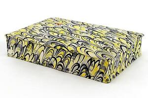 An early-mid 20th century French fabric covered box Yellow, black Art Deco style