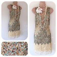 NWT Sequin Beaded Embellished 20's Gatsby Dress L 12 Flapper Art Deco RRP £95.00