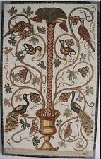 Roman style Mosaic Stone Panel with Birds, Peacock On Palm Tree W Floral Design