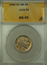 1926 Buffalo Nickel Coin 5c ANACS MS-65 GEM