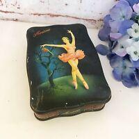 Antique Prima Ballerina Tin Litho Box, Vintage Morton's Toffee candy Pink Tutu