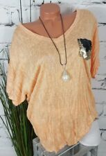 NEU ITALY LUFTIGE OVERSIZE CRASH BLUSE TUNIKA WENDEPAILLETTEN ORANGE 40-46
