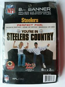 You're in Steelers Country 8' x 2' embroidered weather resistant white banner
