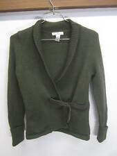 vtg Susan Bristol Cardigan Sweater green thick 100% merino wool leather belt M
