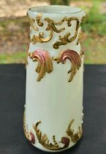 ANTIQUE HAND PAINTED MILK GLASS VASE 5 1/2""