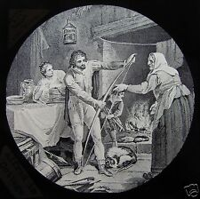 Glass Magic Lantern Slide KING ALFRED IN THE COTTAGE C1890 BRITISH HISTORY