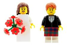 LEGO Wedding Bride with Bouquet Flowers & Scottish Groom (Red Kilt) Minifigs NEW