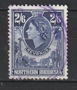 1955 Northern Rhodesia Bft:21 2/6 Violet QE2 Revenue. Very Fine Used.