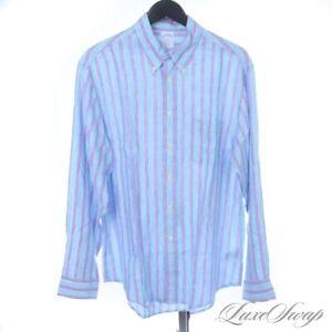 NWT Brooks Brothers Slim Fit 100% Linen Lavender Aqua White Stripe Shirt L NR