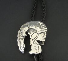 Eagle Dancer Native Sterling 925 Silver Slide Black Bolo Tie