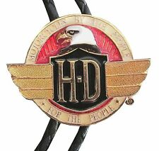 "HARLEY DAVIDSON ""BY THE PEOPLE FOR THE PEOPLE"" PENDANT BOLO COWBOY NECK TIE NEW"