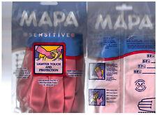 2 x Gants ménage MAPA Sensitive Latex naturel, floqué coton, T. 7 medium - NEUFS
