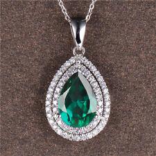 1,50Kt 585er Weiß gold Natürlich Smaragd & EGL Zertifiziert Diamant Anhänger