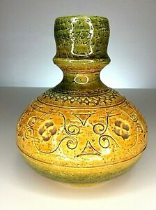 Mid Century Bitossi Yellow Green Spagnolo Vase Aldo Londi Design Italy