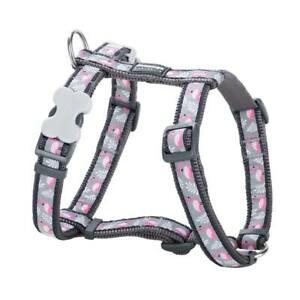 Red Dingo FLAMINGO Design GREY No Pull Dog & Puppy Harness | XS - LG Adjustable