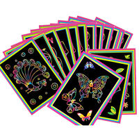 10PCS Magic Colored Scratch Art Painting Paper With Drawing Stick Educationa Toy