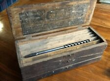 Vintage Russell Jennings Spur Auger Bits Set in 3 Tier Wood Box with 3 bits