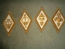 4 Vintage 1971 Homco Wall Decor Hanging Plaques Floral Torch Lyre Urn Gold