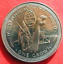 Isle of Man 1979 Viking Longship Godred Cravan Crown Silver Coin,UNC
