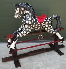 Vintage Child's Fibre Glass Rocking Horse on Wooden Base