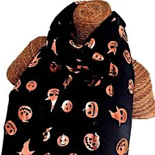 HALLOWEEN SCARF , ROSE GOLD FOIL EMBOSSED PUMPKIN FACES BLACK 100 % COTTON