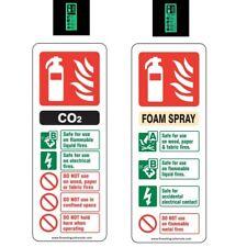 Fire Extinguisher ID signs Foam+CO2 Photoluminescent Glow in Dark Rigid Plastic
