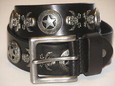 New Mens Black Leather Studded SKULLS Belt Size 34 inch 86 cm (SB123)