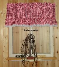 "Red Gingham Ruffled Valance 82"" Wide by 14"" Long"