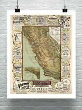 Antique 1895 Map of California Roads For Cyclers Canvas Giclee Print 24x30 in.