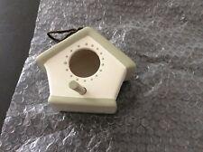 Pottery bird house pale cream/green