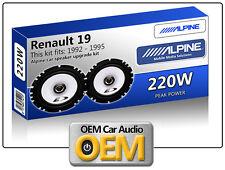 RENAULT 19 casse portiera anteriore KIT ALPINE ALTOPARLANTI AUTO 220W MAX