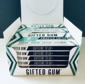 GIFTED GUM Energy Gum / 12 Packs = 144 Gum Pieces / Caffeine Gum / Sugar Free