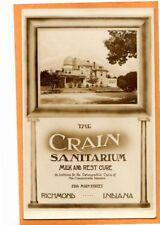 Real Photo Postcard RPPC - Advertising Crain Osteopathic Sanitarium Richmond IN