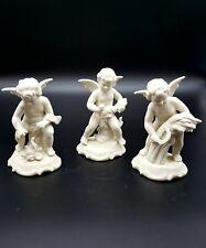 Set of Three Crown 'D' Angel Cherubs Figurine Original Germany White Bisque