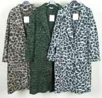 New Ladies Animal Print Boiled Wool Mix 2 pockets Long Felt Duster Jacket Coat
