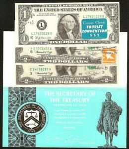 3) FRNs 1976 $2 & $1 DOLLAR BILL STAMPED NOTES WITH BICENTENNIAL ENVELOPE
