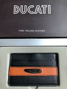 Ducati Credit Card Holder Leather Black & Orange