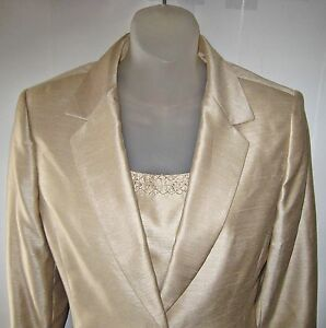 NWT $270 Le Suit Women 3 pc Set Pants Jacket Blazer Top Champagne Sz 10 P Petite