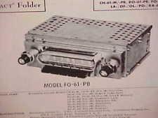 1961 CHEVROLET IMPALA PONTIAC FORD DODGE CONVERTIBLE AM RADIO SERVICE MANUAL 61