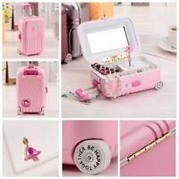 New Luggage Ballet Ballerina Girl Music Box Jewelry-Storage Organizer Gift Toy