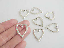 30pcs Antique Silver Open Heart Charms Pendants Jewelry Findings 24x19mm