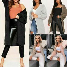 Long Knitted Cardigan Open Front Balloon Sleeve Oversized Coat Winter Womens New