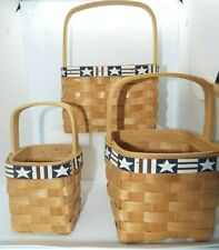 Lot 3 Square Wicker Baskets With Americana Design Red White & Blue
