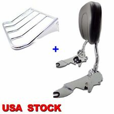 Adjustable Backrest Sissy Bar w/ Luggage Rack For 94-08 Harley Touring Model Chr