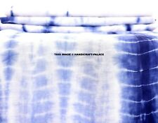 Indian Hand Tie Dye 100% Cotton Fabric Indigo Blue Shibori Stripe Print 5 Yard